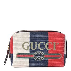 Gucci Sylvie Stripe Cosmetic Bag White Red Blue